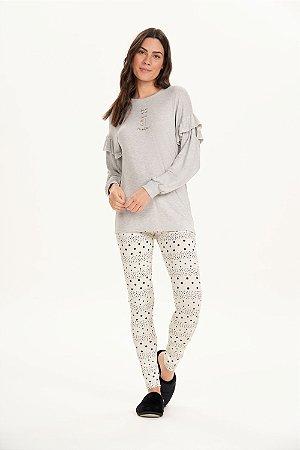Pijama Manga Com Legging Cor com amor