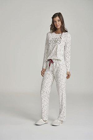 Pijama em Algodão Manga Longa Cor com Amor