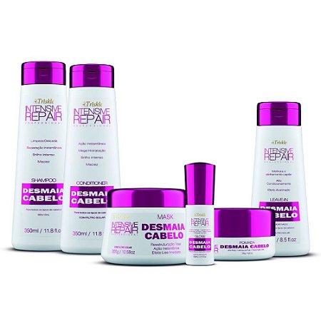 Super Kit Desmaia Cabelo     Shampoo, Condicionador, Máscara, Gloss, Leave-in, Pomada gratis