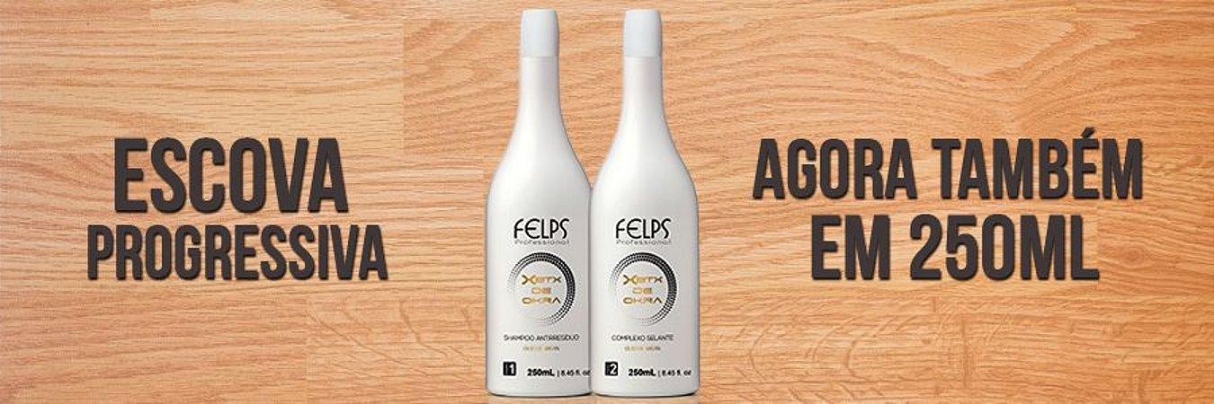 Escova de Quiabo 250ml shampoo anti-resíduos + escova progressiva