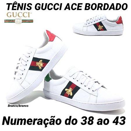 Tênis Gucci Ace Bordado Couro Legítimo Masculino