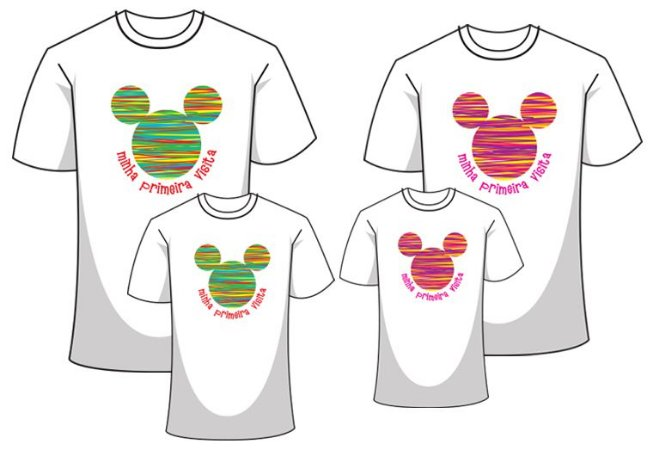 Camiseta - Kit Família Disney 2018
