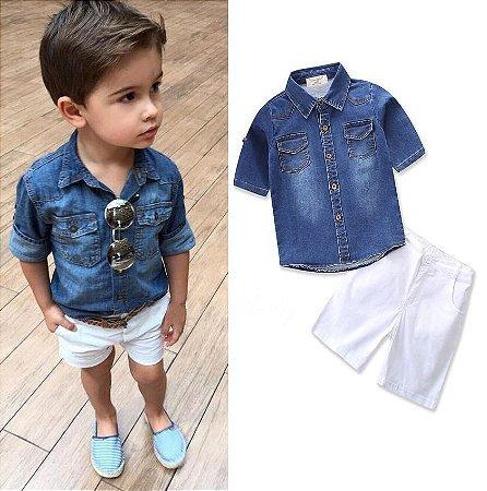 d5e52959bb Shorts Branco Infantil Camisa Jeans Kids - LoLoKids