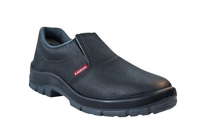 Sapato Elástico COURO Preto Kadesh c/ Biqueira de Aço