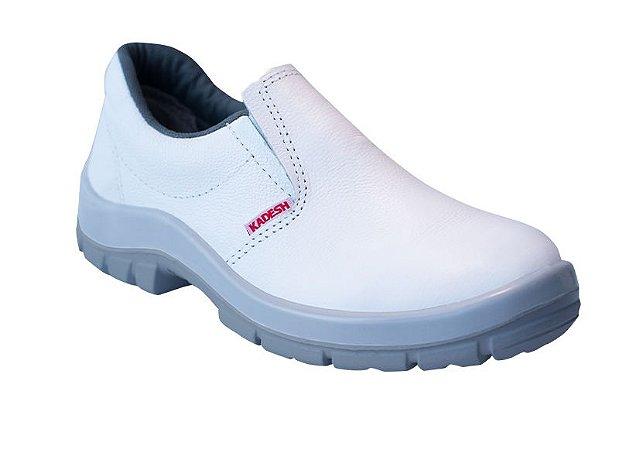 Sapato Elástico COURO Branco Kadesh c/ Biqueira de PVC