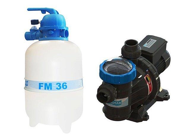 Conjunto Filtrante Bomba 1/3cv Filtro FM 36 Sodramar