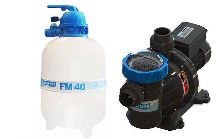 Conjunto Filtrante Bomba BMC 50 Filtro FM 40 Sodramar