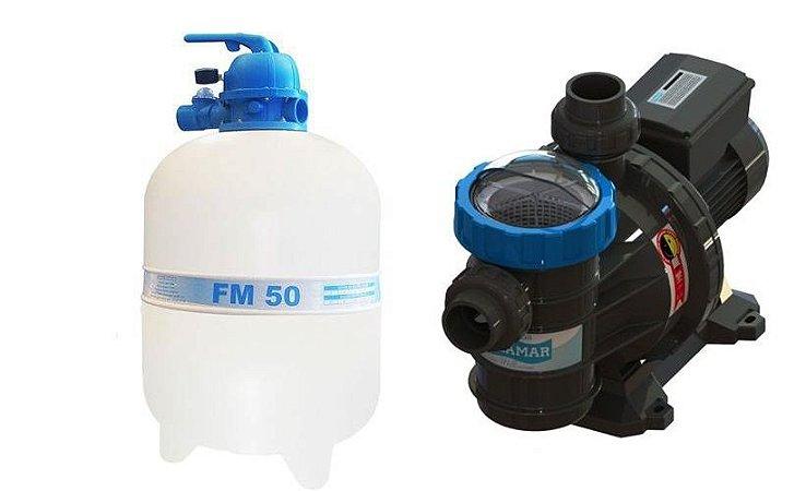 Conjunto Filtrante Bomba 3/4cv Filtro FM 50 Sodramar