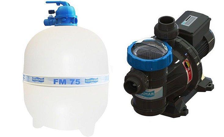 Conjunto Filtrante Bomba 1.1/2cv Filtro FM 75 Sodramar