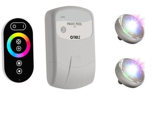 Kit Iluminação 2 Leds Colorido RGB para Piscina Tholz