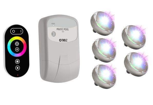 Kit Iluminação 5 Leds Colorido RGB para Piscina Tholz