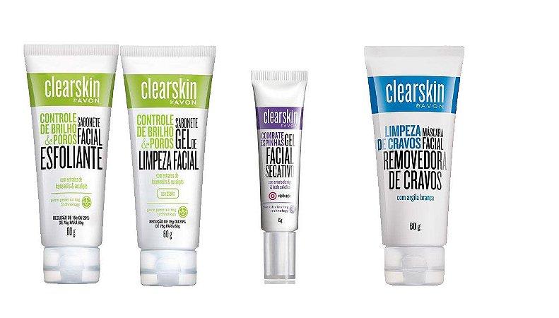 Kit 04 Itens Clearskin-esfoliante,limpeza,secativo,cravos