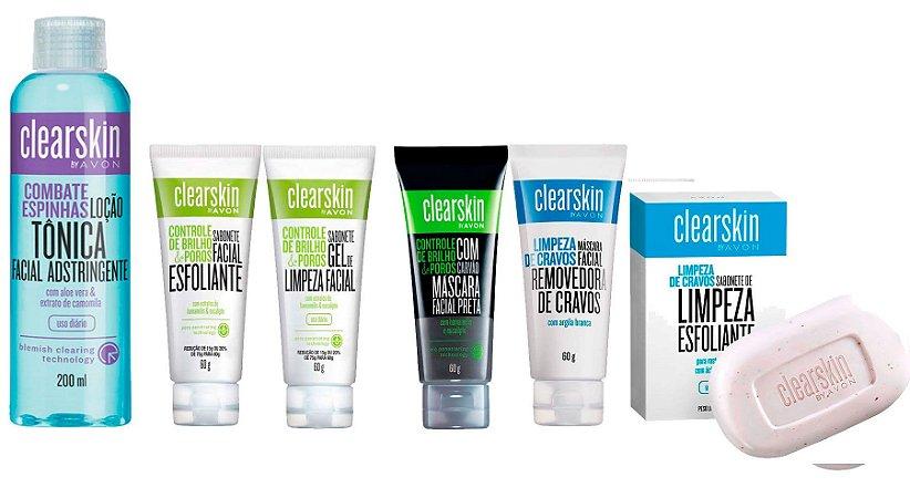 Kit Avon Clearskin 6 Itens Com Sabonete Esfoliante Barras