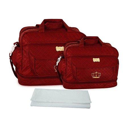 797248963 Kit 2 Bolsas Maternidade Com Trocador - Cor Vinho - baramuch