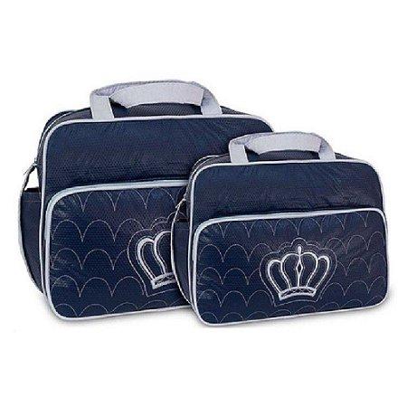 097878871 Kit 2 Bolsas Maternidade Azul/Cinza - Menino Menina - baramuch