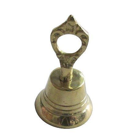 Sino Sineta De Mão Pequeno Em Bronze Maciço Dourado
