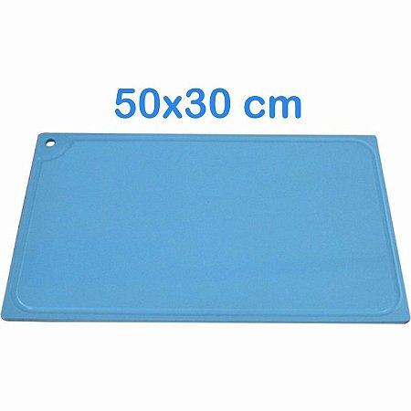 Tabua de Corte 50 x 30cm em Polietileno Azul