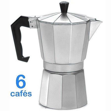 Cafeteira Italiana Em Alumínio Para 6 Cafés Ou 300 Ml