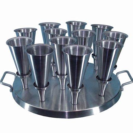 Formas Assadeiras Para 12 Pizza Em Cone Com Base E Faca Alumínio