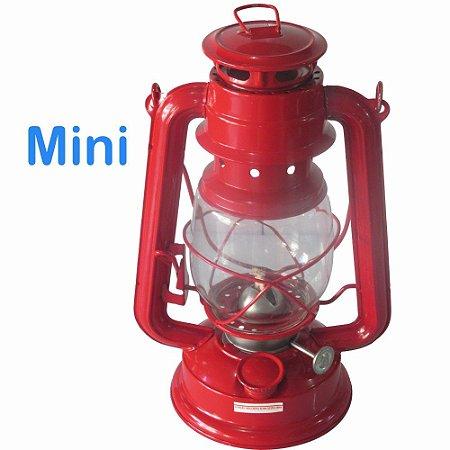 Lampião a Querosene Vermelho Mini 18cm