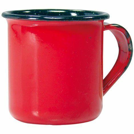Caneca xícara Esmaltada Ágata 180ml Café Antiguidade Viagem Decoração vermelha