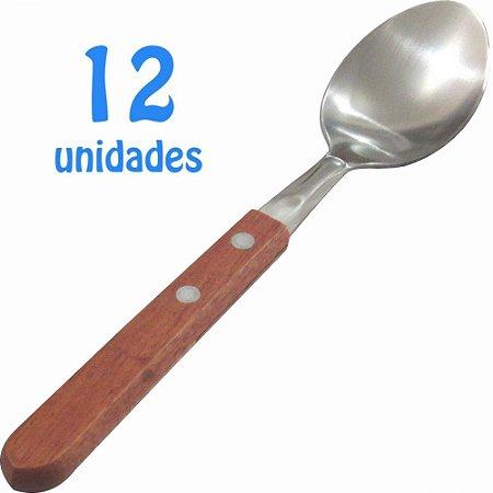 Jogo de Colheres de Mesa Cabos de Madeira com 12 Unidades