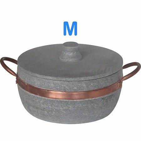 Panela caçarola Fogão a Lenha de Pedra Sabão M com Alças de Cobre litragem aproximada 1,5L