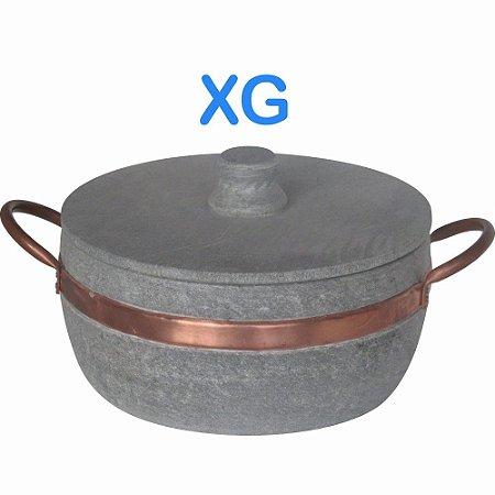 Panela caçarola Fogão a Lenha de Pedra Sabão XG com Alças de Cobre litragem aproximada 3 L