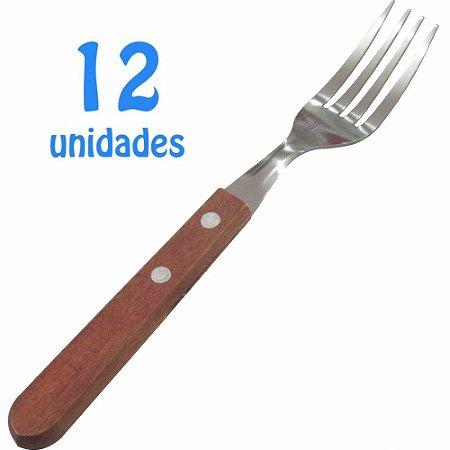 Jogo de Garfos de Mesa Cabos de Madeira com 12 Unidades