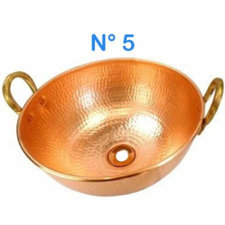 Cuba Pia Lavabo de Cobre Martelado N° 5 com Alças de Bronze 30cm