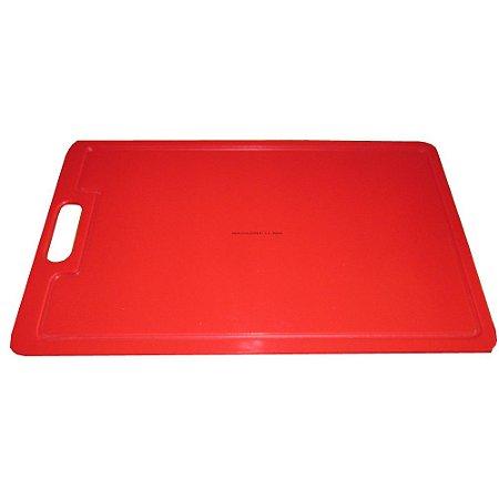 Tabua Placa De Corte 49,5 X 29,5cm Em Polietileno Vermelho