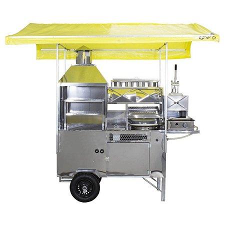 Carrinho de Churrasco, Hot-Dog, Pastel, Batata Frita e Lanche (Modelo 5 em 1) Com Cobertura