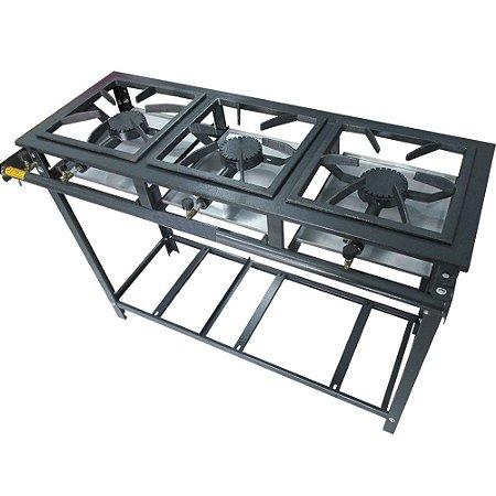 Fogão Industrial 3 Bocas 30x30 Alta Pressão Com Suporte Pra Panela