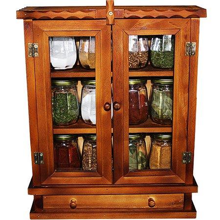 Armarinho Organizador De Temperos Condimentos Com 12 Potes Grande de Vidro