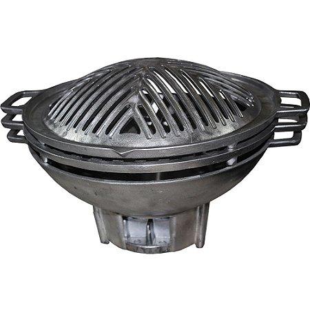 Churrasqueira Gengiskan De Alumínio Fundido 30 Cm +2 Grelhas