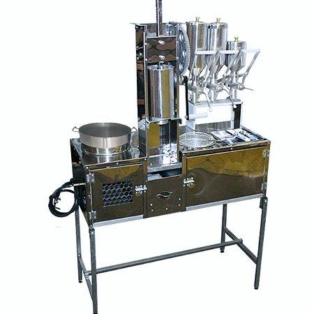 Mesa de Churros Bancada com 2 Doceiras de 2 litros 1 Recheador Pão de Queijo e 1 Masseira de Engrenagem Churritos
