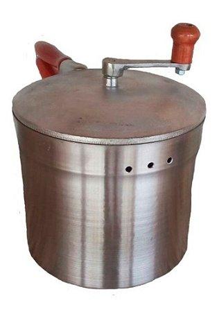 Pipoqueira Profissional Original Pesada TAMPA Alumínio FUNDIDO 6 Litros