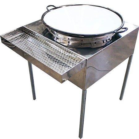 Fogão Pasteleiro em Aço Inox Grande + Escorredor e Acessórios