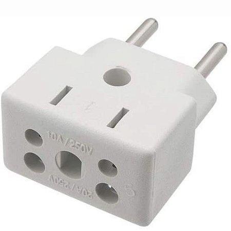 Conector Adaptador de Tomadas 10A e 20A Branco
