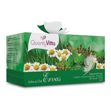 Linha de Chás Ervas - 5 sabores - 8 sachês cada sabor - 45,6g - QuantyVitta