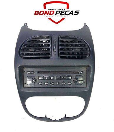 Moldura central Peugeot 206 com rádio original