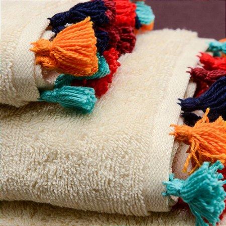 Toalha Natural Tassel Colorido