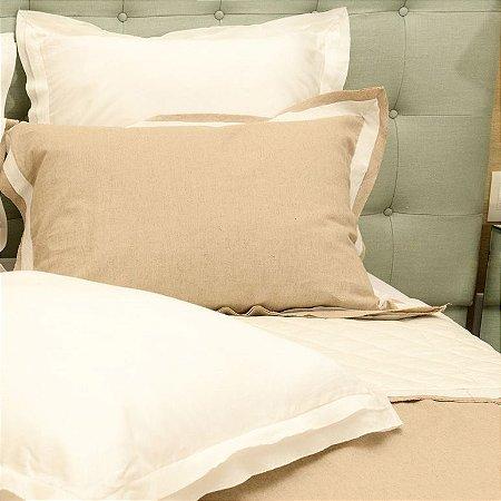 Colcha Linho Diamante Natural + Porta Travesseiros + Almofadas