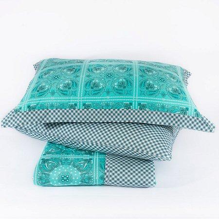 Colcha + Porta Travesseiro Dupla Face Aruba Verde