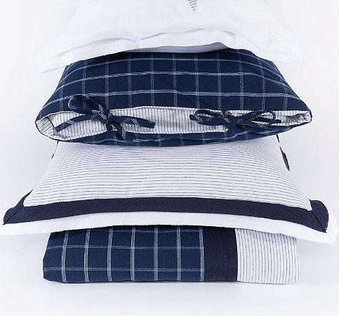Colcha + 2 Porta Travesseiro Água Marinha Azul - Solteiro