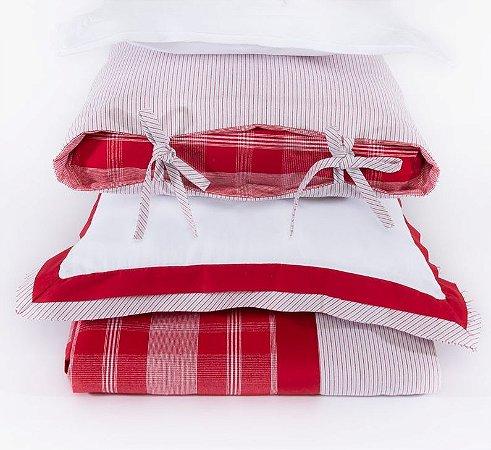 Colcha + 2 Porta Travesseiro Água Marinha Vermelho - Solteiro