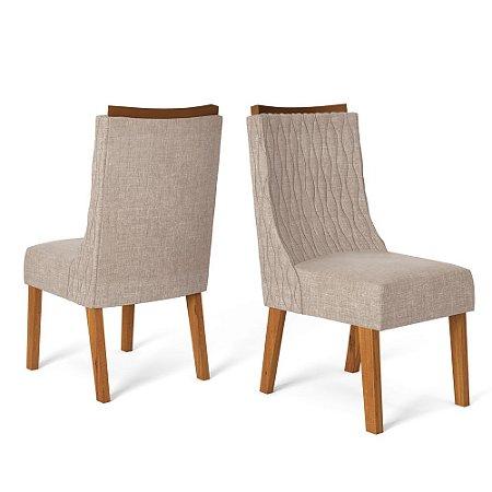 Kit com 2 Cadeira Amelia Telha/Linho Urbano - Dj Móveis