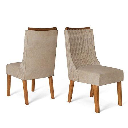 Kit com 2 Cadeiras Amelia Telha/Linho Árido - Dj Móveis