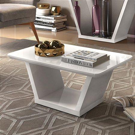 Mesa de Centro Lotus com Canto Curvo Branco - Dj Móveis