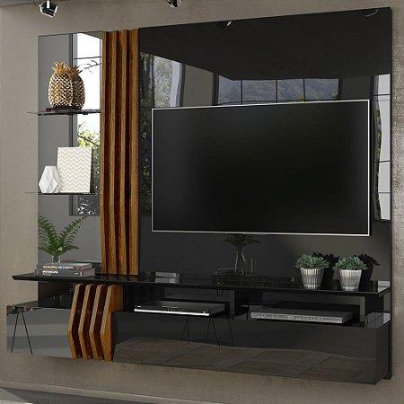 """Painel Home Suspenso LORIS para TV 55""""  100% MDF Preto/Tronco Ripado - Dj Móveis"""
